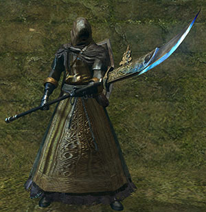 black knight halberd on hand